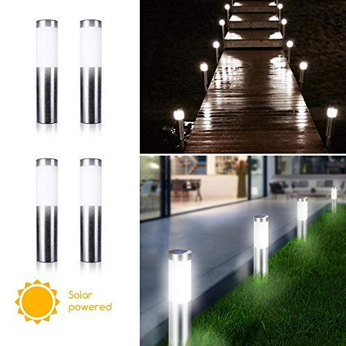 4 Pack Solar Bollard Lights Outdoor Pathway Yard Lights Stainless Steel Waterproof LED Patio Landscape Lights for Yard Garden Driveway Path Walkway Lawn