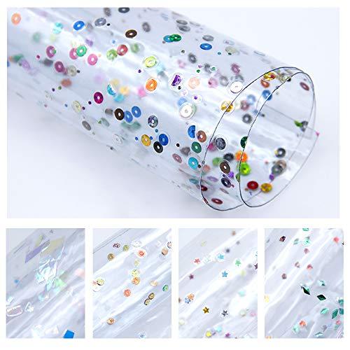 (David Angie Transparent Sequin Confetti Clear Faux Leather Sheet 5 Pcs 8
