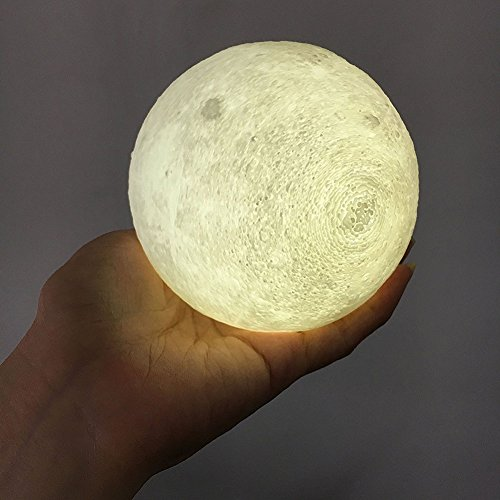 AIFONE Night Light PLDM 3D Printing Moon Lamp, Warm and Cool White Dimmable Touch Control Brightness with USB Charging,Home Decorative Lights by AIFONE (Image #7)