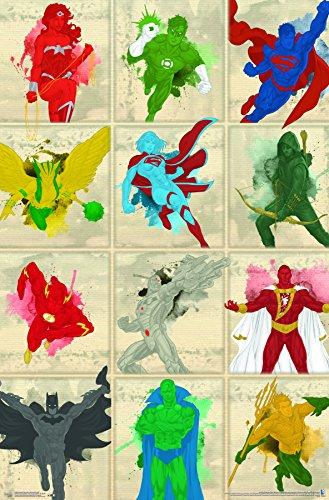 Trends International Justice League-Simplistic Grid Premium Wall Poster, 22.375