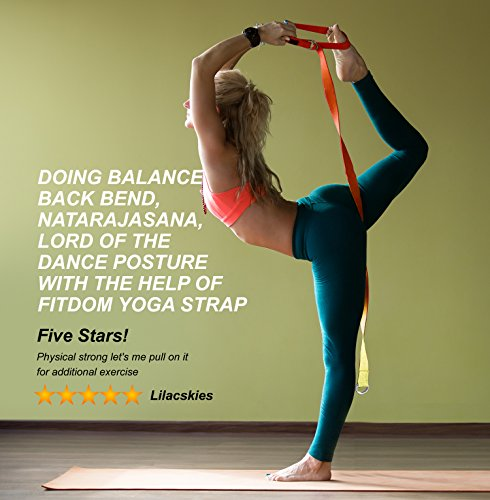 2-IN-1 Premium Lightweight Yoga Stretch Strap Belt & Mat Carrier Sling, 6 Foot Long, 100% Cotton, Perfect Yoga Accessory for Women, Men, Beginners to Pros, Fits All Yoga Mats & Maintain Poses