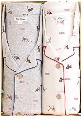ペアパジャマ綿100%スムースニットねこ柄 長袖・長パンツ 秋冬春向き素材