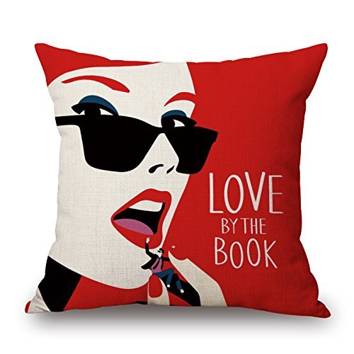 HFYZT Cotton Linen Square Decorative Throw Pillow Case Cushion Cover Simple Black and Beige Style Fashion Makeup Lady Apply Lip Gloss Red 18