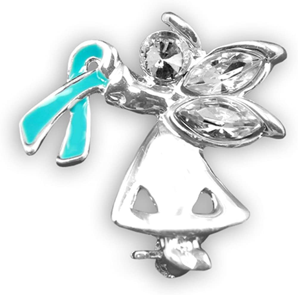 Amazon Com Ovarian Cancer Awareness Angel Ribbon Pin 1 Pin Retail Clothing
