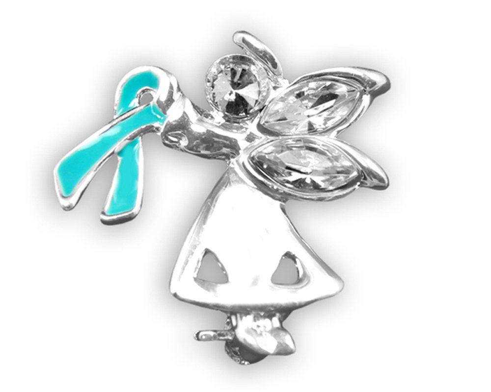 Fundraising For A Cause Angel By My Side Teal Ribbon Pin (1 Pin - RETAIL)