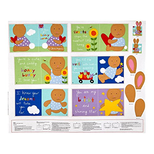Huggable & Loveable I love You Honey Bunny Soft Book Panel Fabric By The Yard (Panel Fabric By The Yard compare prices)