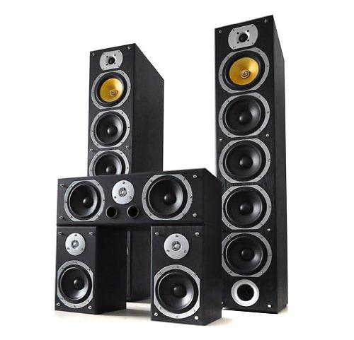 Beng V9B Standlautsprecher Komplettset , 5 Stück insg. 1240W (2 Standlautsprecher +Center + Rear Boxen) schwarz