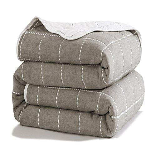 Uozzi Bedding 6 Layers of 100% Hypoallergenic Muslin Cotton Premium Toddler Blanket Spring Summer Lightweight Quilt/Throw Blanket for Teens, Adults (Grey Dots line, 75