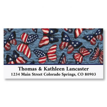 - Be Free and Fly Patriotic Butterflies Return Address Labels - Set of 144 1-1/8 x 2-1/4 Self-Adhesive, Flat-Sheet 4th of July labels