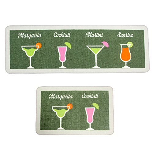 Kitchen Rugs and Mats 2 pieces,SHACOS Kitchen Runner Rug Floor Mats Carpet Anti-skid Doormat Washable 20×32 inch+20×59 inch, Green Cocktail Glasses by SHACOS (Image #8)