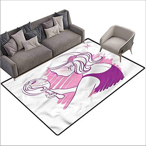Anti-Slip Coffee Table Floor Mats Zodiac Gemini,Teenage Girl 48
