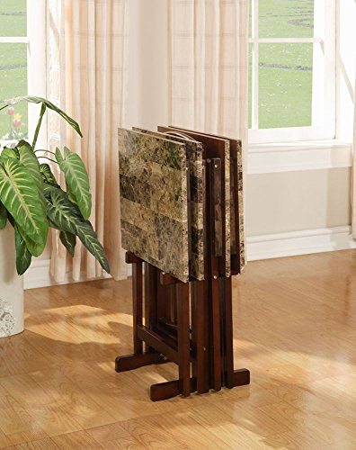 linon home decor tray table set faux marble linon home decor tray table set faux marble brown 13720