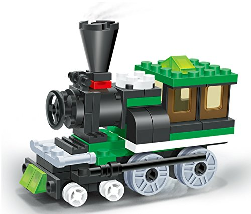 Train Window - Toy Train Building Set - 68 pcs building blocks steam engine locomotive railway train set comes with a 2 windows cabin, a great full time fun - a must gift for all 6+ children