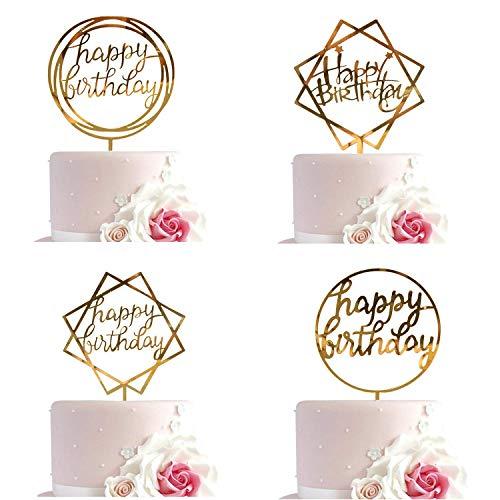 (DVID_K Happy Birthday Cake Topper Acrylic Cupcake Topper Supplies)