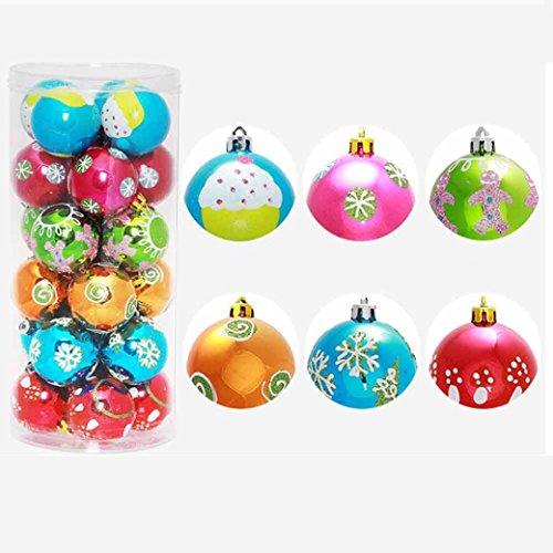 (Hot Sale! Clearance!Todaies-24PC Christmas Tree Xmas Balls Decorations Baubles Party Wedding Ornament 6cm (6cm, Multicolor))