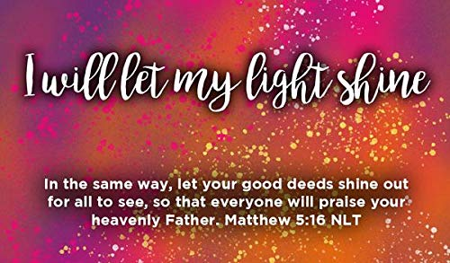 Lets Shine Jesus Light - Children's Christian Pass Along Pocket Scripture Cards - I Will Let My Light Shine | Matthew 5:16 | Pack of 25
