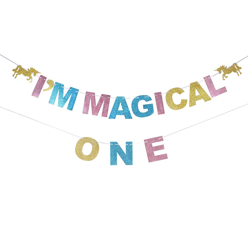 I am Magical One Glitter Colourful Banner Unicorn Themed 1st Birthday One Years Old Baby Favor Sign Party Decoration.