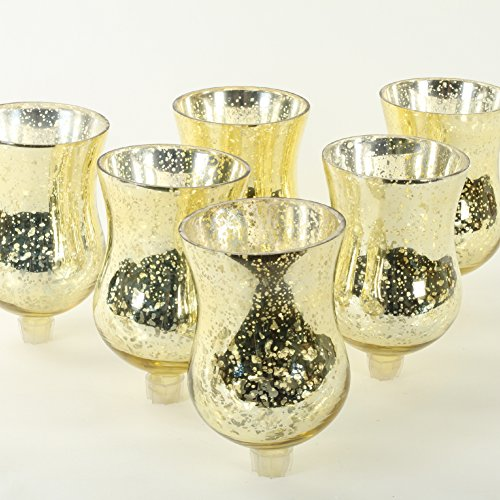 Koyal Wholesale Candelabra Hurricane Glass Shades, Bulk Set of 6 Peg Votive Holders (Antique Gold, ()