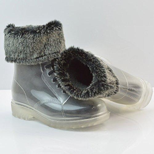 LvRao Mujer Boots de Goma de Lluvia Nieve Calentar Botas de Tobillo Transparente Impermeable Bota Corto con Cordones de Zapatos Transparente con Pelaje
