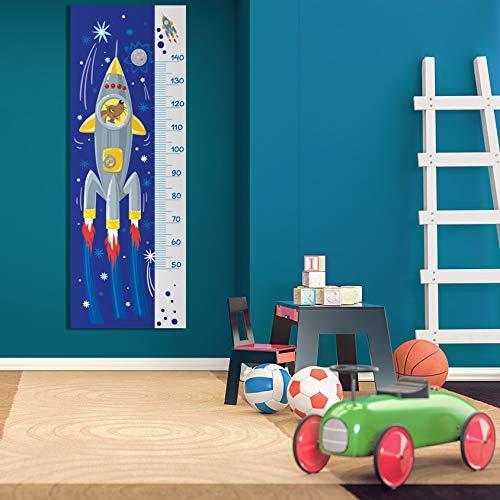 Impreso en PVC con Cohete de Dibujos Animados en el Espacio con Perro Dentro MEGADECOR Medidor de Altura Infantil