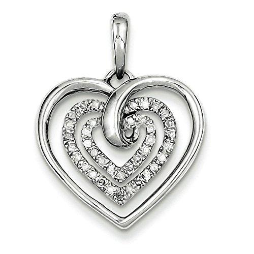 Argent Sterling Rhodium plaqué diamant coeur-JewelryWeb