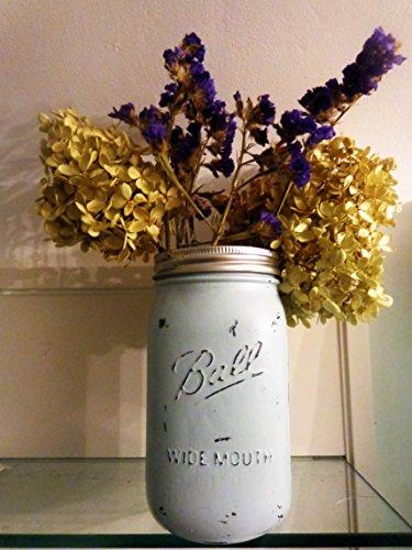 Painted Mason Jar - Mason Jar Vase - Centerpiece - Baby Shower - Country Decor - Bathroom Storage - Wedding Centerpiece - Housewarming Gift