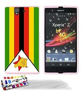 """Carcasa Flexible Ultra-Slim SONY XPERIA Z de exclusivo motivo [Zimbabue Bandera] [Rosa] de MUZZANO  + 3 Pelliculas de Pantalla """"UltraClear"""" + ESTILETE y PAÑO MUZZANO REGALADOS - La Protección Antigolpes ULTIMA, ELEGANTE Y DURADERA para su SONY XPERIA Z"""