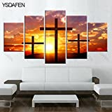 [Medium] Premium Quality Canvas Printed Wall Art Poster 5 Pieces / 5 Pannel Wall Decor Christian cross Painting, Home Decor Pictures - With Wooden Frame