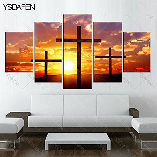 [LARGE] Premium Quality Canvas Printed Wall Art Poster 5 Pieces / 5 Pannel Wall Decor Christian cross Painting, Home Decor Pictures - With Wooden Frame by PEACOCK JEWELS