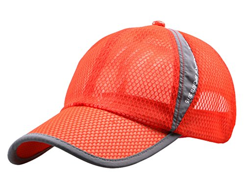 Lightweight Hat - Mens' Womens Summer Outdoor Sport Hat Lightweight Running Hiking Climbing Fishing Sun UPF 50+ Mesh Cap Orange