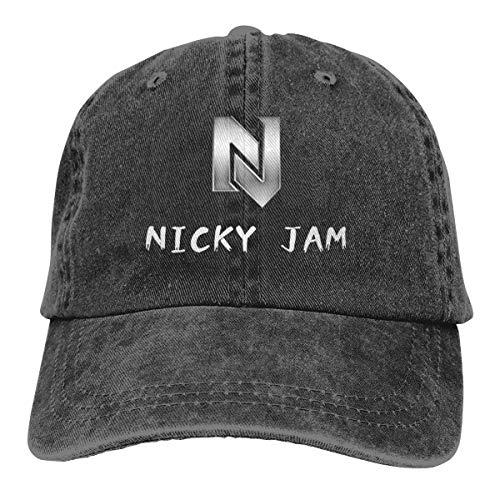 Badalink Unisex Vintage Nicky Jam Washed Dyed Adjustable Baseball Cap Dad Hat for Men's and Women Black