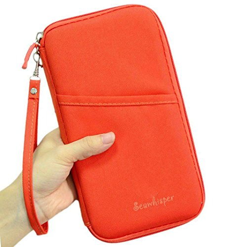 Passport Holder Pouch and Travel Wallet with Removable Wristlet Strap Orange