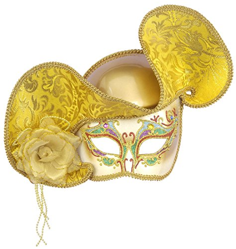 Gold Venetian Half Mask With Hat (Gold Venetian Half Mask with Hat)