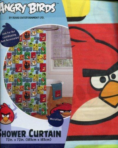 Rovio Angry Birds Blocks Shower Curtain (Angry Bird Curtains)