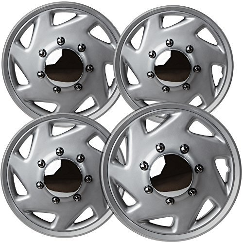 OxGord Hubcaps for Select Trucks & Cargo Vans (Pack of 4) Wheel Covers - 16 Inch, 7 Spoke, Snap On, Silver