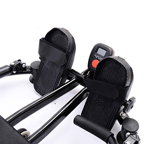 Best-mall Black Rower Glider Workout Gym Home