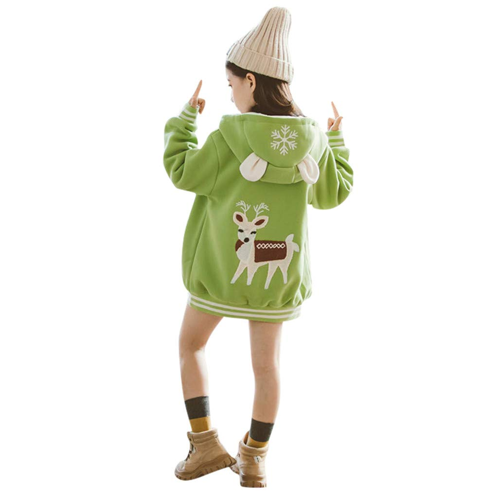 Lataw Youth Kids Outerwear Baby Boy Girl Christmas Deer Cartoon Hooded Windproof Coat Jacket Tops Clothes Set by Lataw