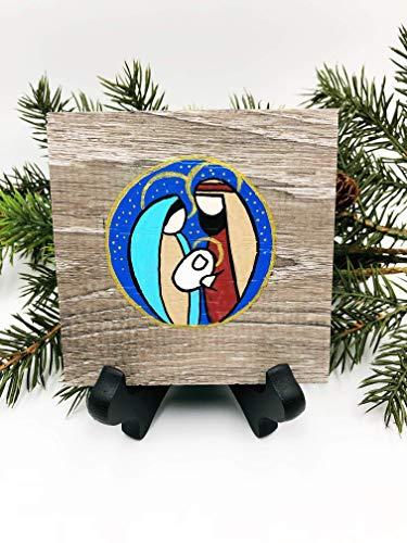 Holy Family Nativity Scene Painting on Vinyl Tile