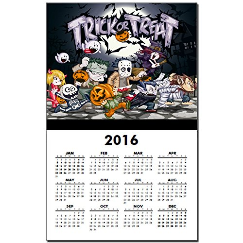 Calendar Print w Current Year Halloween Trick or Treat Costumes (Werewolf Outfits Halloween)
