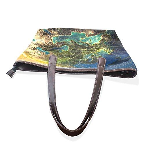 Coosun Terra Altamente Dettagliata Di Notte Con Continenti In Rilievo Grande Tote Bag In Pelle Con Manico In Pelle A Tracolla Per Donna