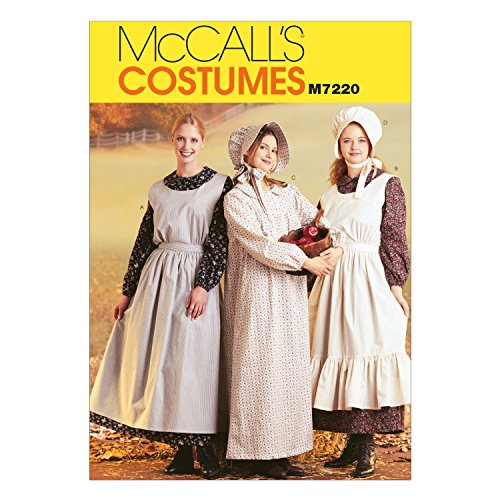McCall's Costumes M7220, Women's Pioneer Costume Dress Sewing Pattern, Small (Pioneer Bonnet Pattern)