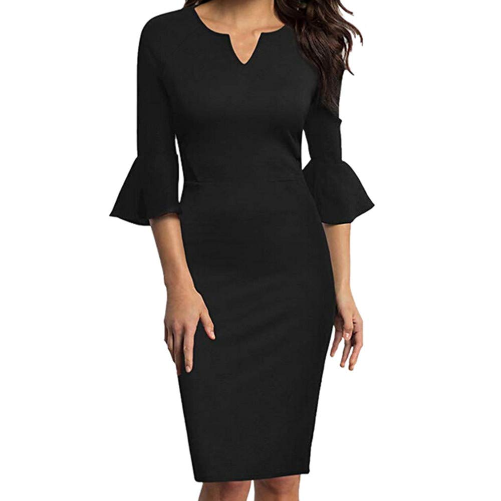 Women Elegant Solid Ruffle 1//2 Sleeve V-Neck Office Work Slim Fit Business Cocktail Midi Pencil Dress