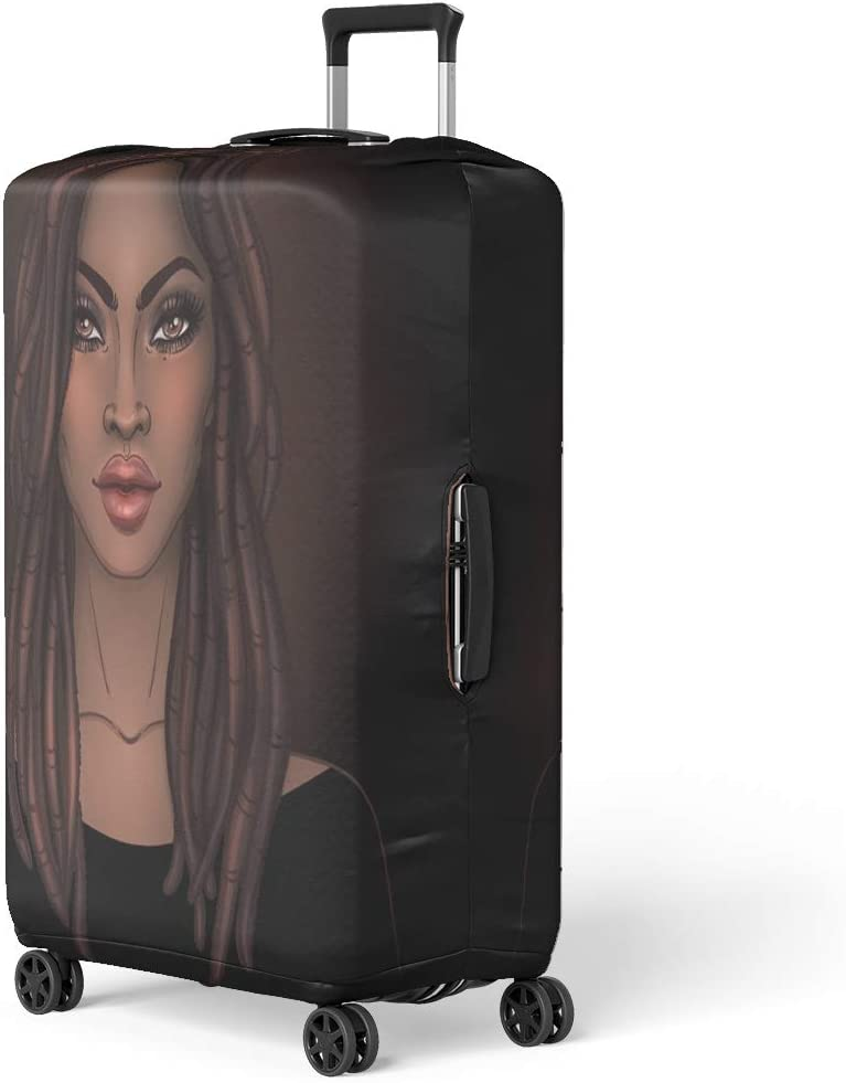 SARA NELL Travel Luggage Cover Black Art African American Women Girl Black Afro Women Suitcase Cover Protector Fits 18-32 Inch Luggage Baggage Cover