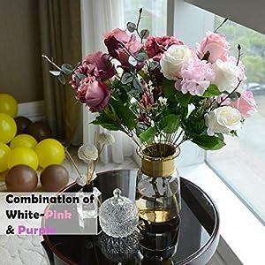 simoce 6 Heads Australian Rose Hydrangea Bouquet Silk Bouquet Home Party Wedding Décor Artificial Flower Props Fake Flowers (Red-Orangepink) 4