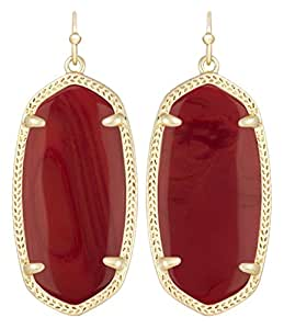 Kendra Scott Signature Elle Earrings in Dark Brown Red Glass and Gold Plated