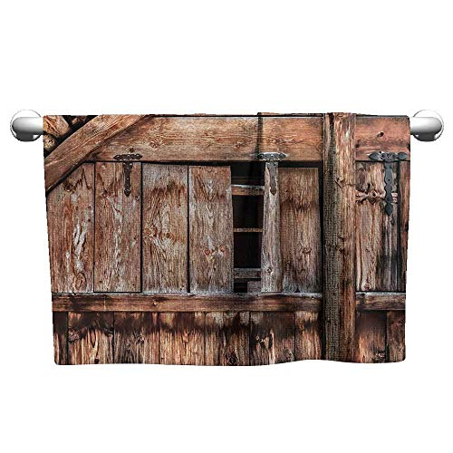 - Bensonsve Bath Towel Rustic,Abandoned Damaged Oak Barn Door with Iron Hinges and Lateral Cracks Knock Theme,Light Rosewood,Cold Towel for Neck