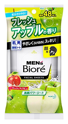 Mens Biore Facial&body Antiperspirant Wet Tissue, Flesh Apple, 42 Sheet