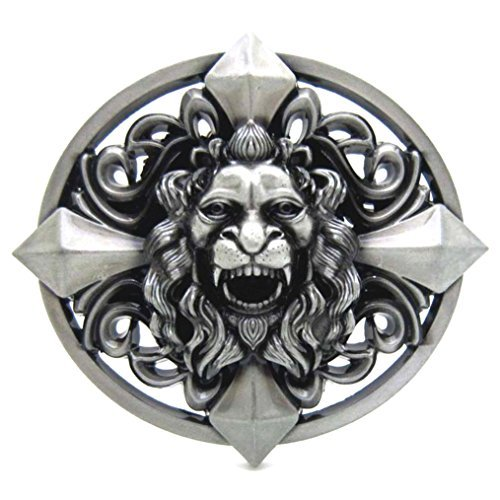MASOP Retro Keltic Cross Skull Lion Head Heavy Belt Buckle Gothic Western Silver