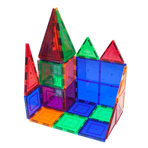 : PicassoTiles 60 Piece Set 60pcs Magnet Building Tiles Clear Magnetic 3D Building Blocks Construction Playboards - Creativity beyond Imagination, Inspirational, Recreational, Educational, Conventional