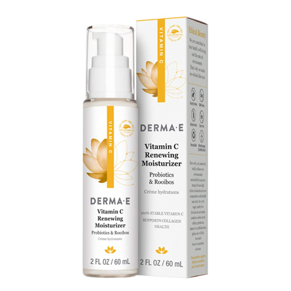All Natural Facial Moisturizer with Vitamin C, & Roobios & Probiotics, DERMA-E's Day Moisturizing Cream Contains Powerful Antioxidants, Skin Renewing, All Vegan Ingredients to Protect Your Skin, 2oz